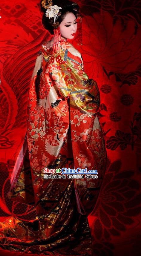 Traditional Embroidered Cranes Japanese Wedding Kimono and ...