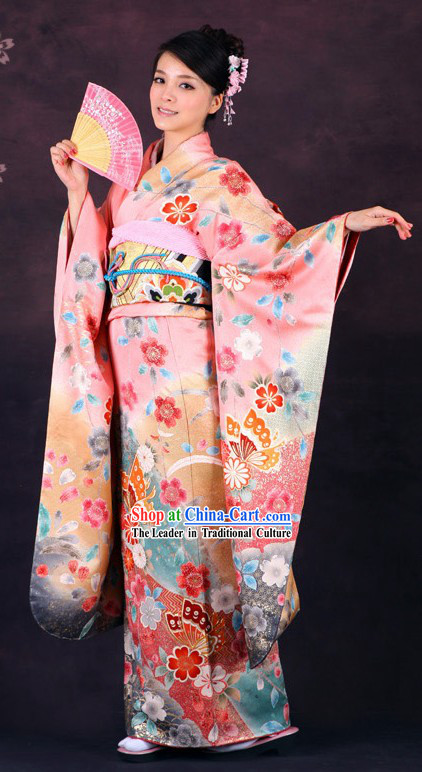 Traditional Japanese Pink Butterfly Furisode Kimono for Women _Sold_