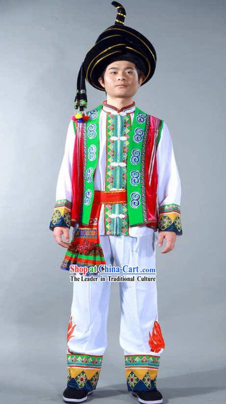 Chinese Yi Nationality Dance Costume and Hat for Men