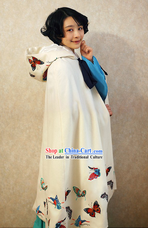 Ancient Chinese White Embroidered Butterfly Princess Cape