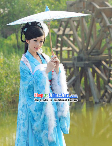 Ancient Chinese Blue Lady Costume and Headwear Complete Set