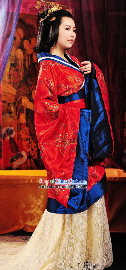 Ancient Han Dynasty Empress Costume and Hair Accessories for Women