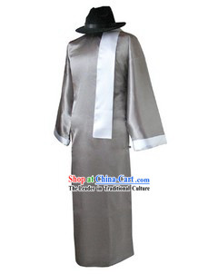 Traditional Chinese Minguo Time Old Shanghai Long Robe Scarf and Hat