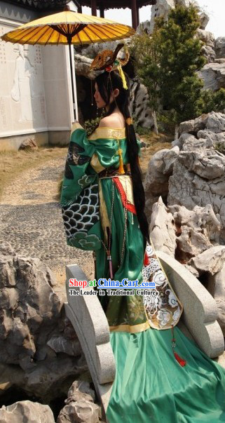 Ancient Chinese Empress Long Costumes and Headpiece Complete Set
