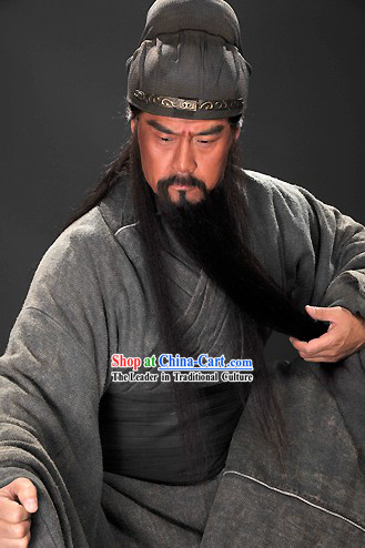 Chinese Costume Three Kingdoms Guan Yu Hero Costumes and Hat Complete Set for Men