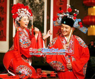 Traditional Mandarn Wedding Dress and Hat Two Complete Sets for Couple