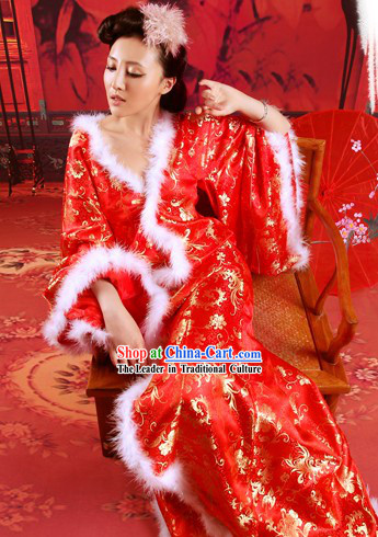 Red Chinese Phoenix Tail Wedding Dress for Women