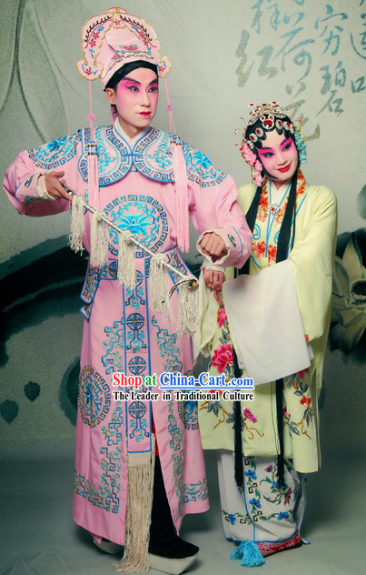 Chinese Beijing Opera Dan and Sheng Costumes Two Complete Sets for Men and Women