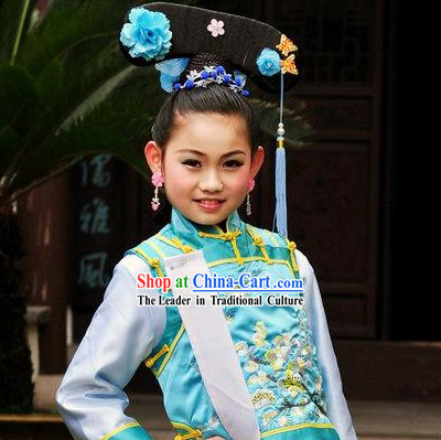 Qing Dynasty Princess Costumes and Hair Accessories Complete Set for Kids