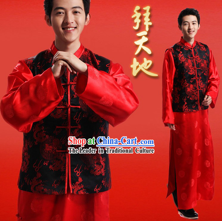 Traditional Red and Black Wedding Dragon Suit for Man