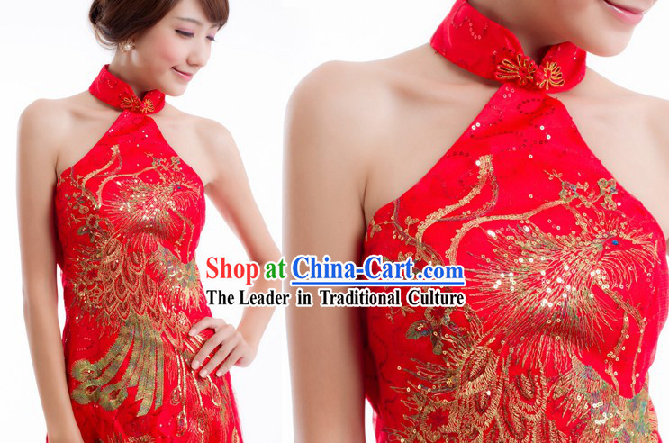 Traditional Chinese Phoenix Wedding Toasting Evening Dress for Women