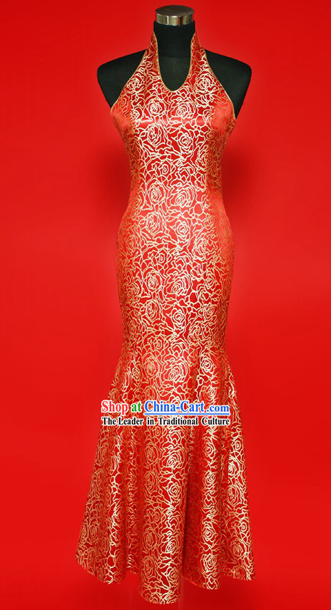 Traditional Chinese Happy Flower Wedding Cheongsam Evening Dress for Brides