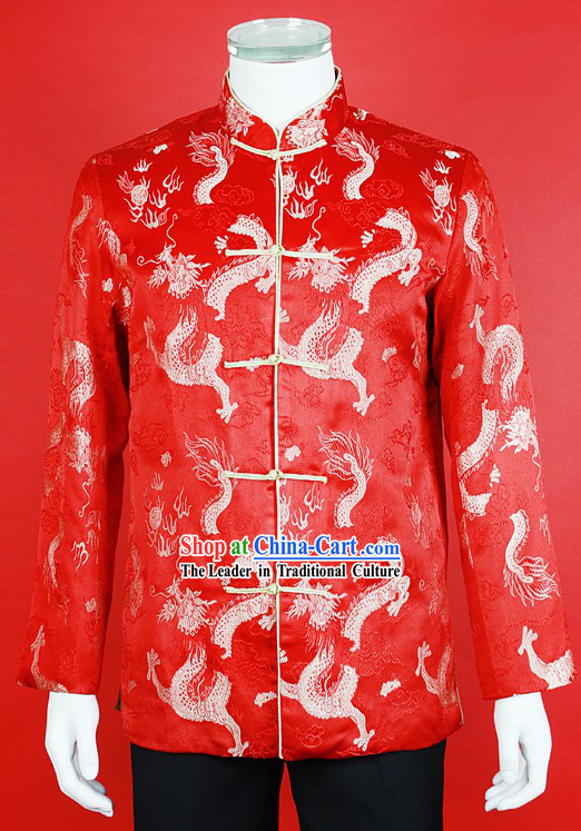 Stunning Red Dragon Tang Suit for Bridegroom