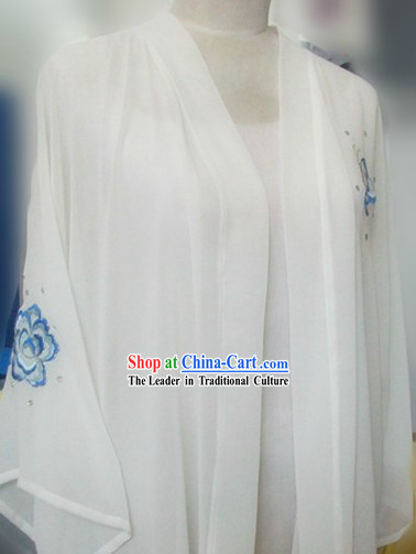 White Chinese Kung Fu Butterfly Cape