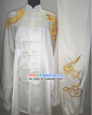 White Silk Dragon and Cloud Kung Fu Dress for Men