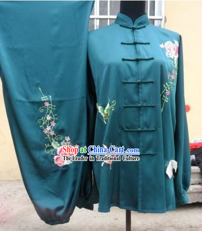 Silk Butterfly and Flower Tai Chi Stage Performance Uniform for Women