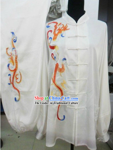 Professional White Silk Kung Fu Performance Uniform for Men