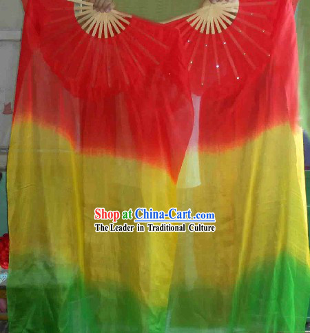 Three Color Transition Silk Dance Fan
