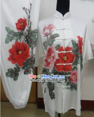 Short Sleeve Silk Hand Painted Peony Tai Chi Performance Uniform for Women