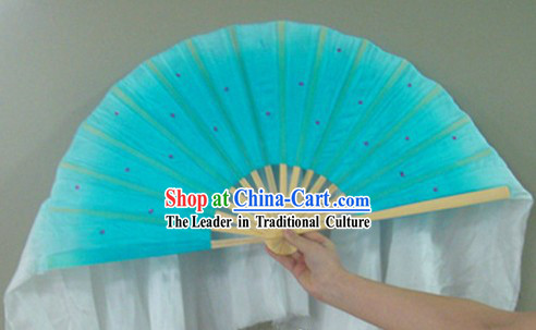 Chinese Color Transition Light Blue Sequins Silk Dance Fan