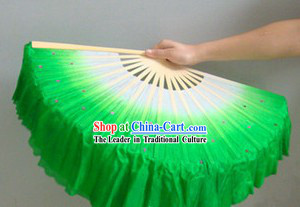 Chinese Color Transition White and Green Sequins Silk Dance Fan