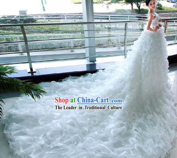 Amazing White Bridal Wedding Veil Dress with Long Trail