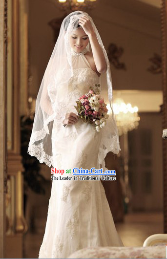 Traditional Chinese Cheongsam Style Wedding Bridal Veil Dress for Bride