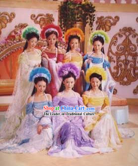 Ancient Chinese Seven Fairies Costumes Complete Set