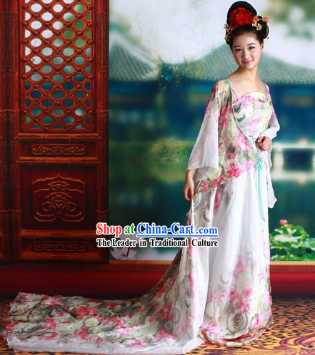 Ancient Chinese Tang Dynasty Princess Long Tail Clothes Complete Set
