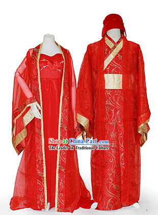 Ancient Chinese Wedding Dresses Two Complete Sets for Men and Women
