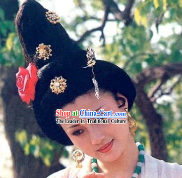 Tang Dynasty Yang Guifei Wig and Hair Accessories