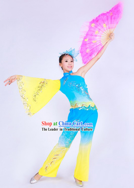 Chinese Color Transition Fan Dance Costumes for Women