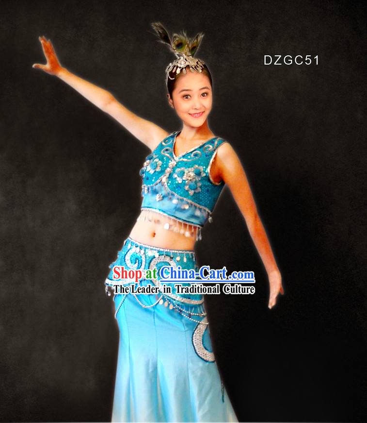 Chinese Traditional Folk Peacock Dance Costumes Complete Set