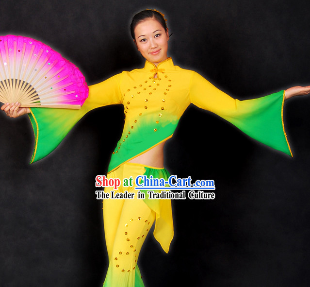 Chinese Color Transition Fan Dance Costume Complete Set for Women