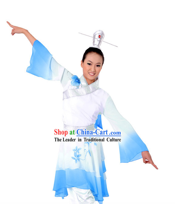 Chinese Classical Color Transition Dance Costume and Headpiece Complete Set for Men or Women