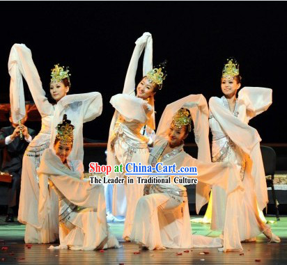 Ancient Chinese Palace White Fairy Classical Dancing Costumes and Hair Accessories for Women