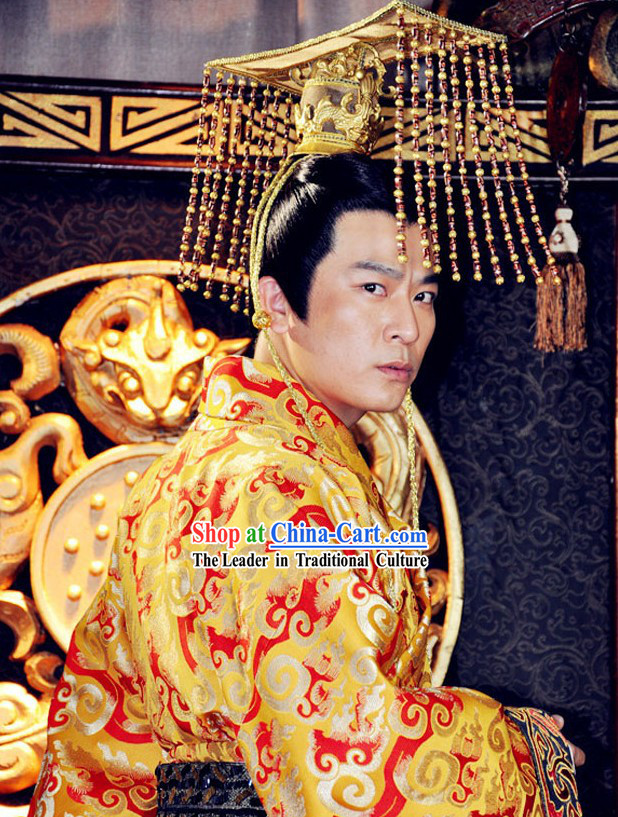 Ancient Chinese Emperor Dragon Robe and Hat Complete Set for Men