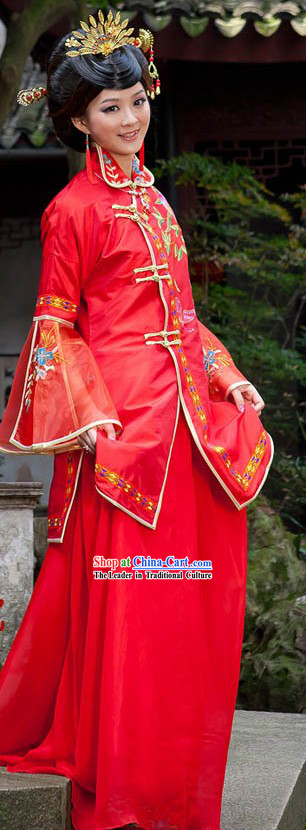 Traditional Chinese Red High Collar Butterfly and Flower Wedding Dress Complete Set