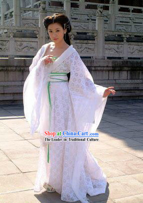 Ancient Chinese Tang Dynasty Empress White Costumes Complete Set