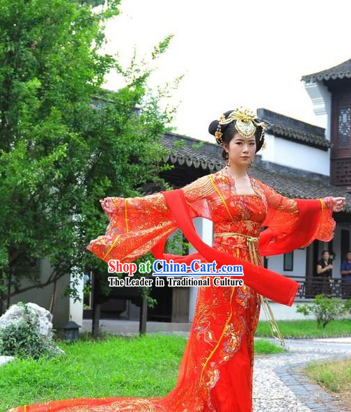 Ancient Chinese Red Wedding Dress with Long Tail