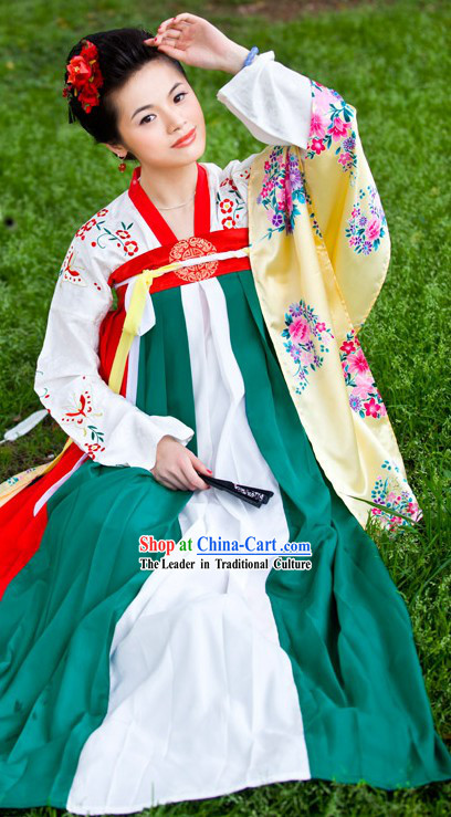 Ancient Chinese Tang Dynasty Clothing Complete Set for Women