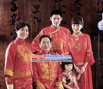 Chinese Wedding and Festival Ceremony Five Dresses Sets for Husband Wife Father Mother Child