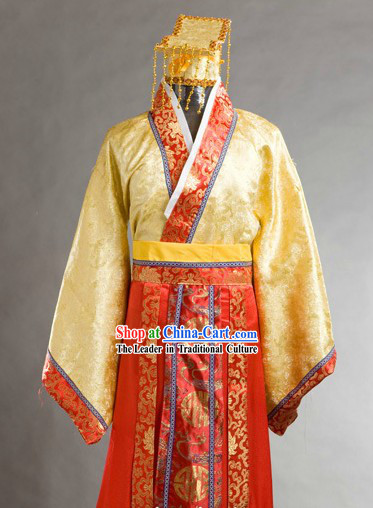 Chinese Folk Culture Yu Huang Da Di Jade Emperor Costume and Hat for Men
