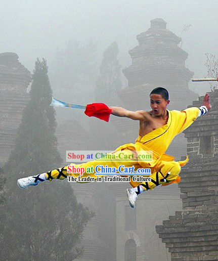 Traditional Shaolin Kung Fu Yellow Monk Costumes for Men