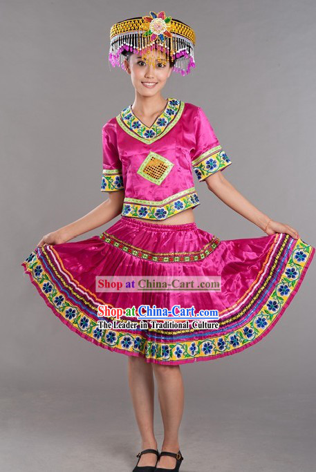 Chinese Miao Ethnic Stage Performance Dance Costumes and Hat for Women