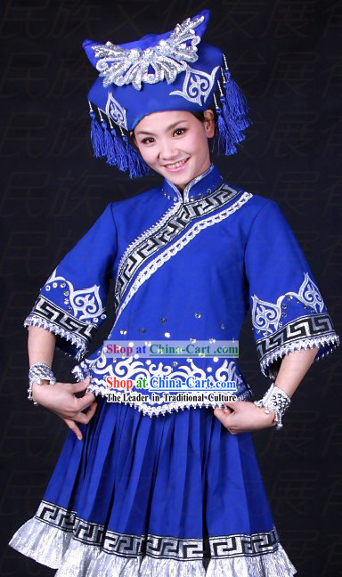 Chinese Zhuang Ethnic Stage Performance Dance Costumes and Hat for Women