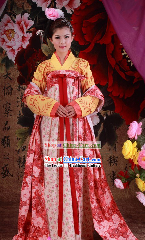 Ancient Chinese Tang Dynasty Princess Clothes and Hair Accessories Complete Set