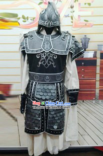 Ancient Chinese Three Kingdoms General Costumes and Helmet for Men