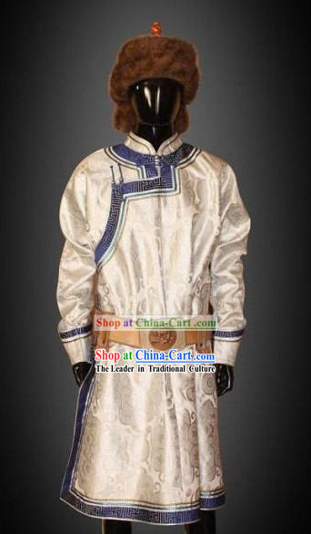 Chinese Classical Mongolian Robe and Hat Complete Set