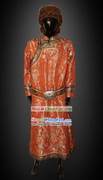 Traditional Chinese Mongolian Robe and Hat Complete Set